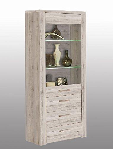 expendio Vitrine Phil 6 Sandeiche 77x198x41 cm Glasvitrine mit Beleuchtung Vitrinenschrank Wohnzimmerschrank Wohnzimmer Esszimmer
