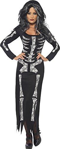 Smiffys-38873s Disfraz de Esqueleto, con Vestido ceñido de Manga Larga, Color Negro, S-EU Tamaño 36-38 (Smiffy