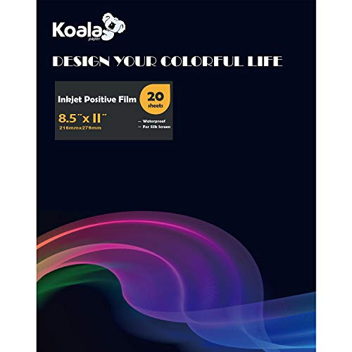 Koala Waterproof Inkjet Milky Transparency Positive Film 8.5x11 Inches 20 Sheets for Screen Printing