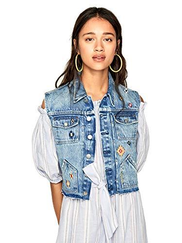 Pepe Jeans - Elise Needle - PL401826 - Chaleco Vaquero Vintage Bordados ETNICOS - para Mujer