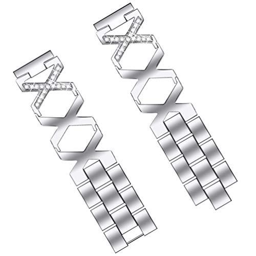 ibasenice Compatible con La Correa Del Reloj Xiaomi Resistente Al Agua de Acero Inoxidable Pulsera de Repuesto de Diamantes de Imitación Correa de Reloj Inteligente para Mujeres Hombres