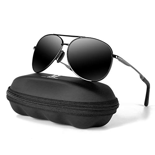 Aviator Sunglasses for Men Polarized Women-MXNX UV Protection Lightweight Driving Fishing Sports Mens Sunglasses MX208-(Gun/Black Lens)