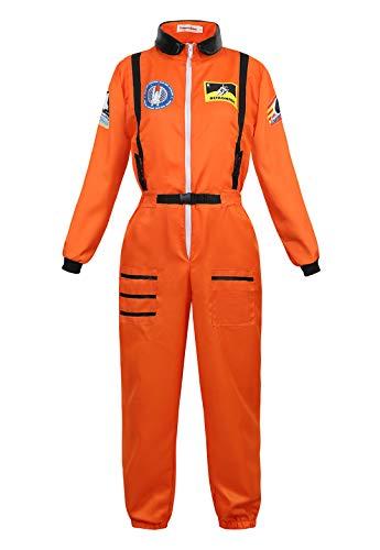 Astronauten-Kostüm für Damen Astronautin-Kostüm Raumfahrer Weltraum Astronauten-Anzug Faschingskostüm Orange Small