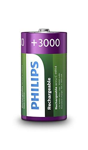 Philips Rechargeables Batería R14B2A300/10 - Pilas (Batería Recargable, Níquel-Metal hidruro (NiMH), 1,2 V, 3000 mAh, CD (cadmio), HG (Mercurio), 0,086 g)