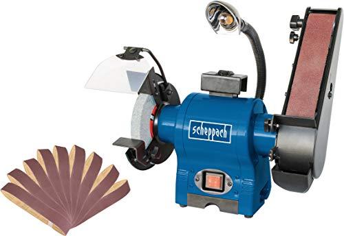 SCHEPPACH SET BGS 700 | Inkl. Ersatzschleifbänder 9-teilig | Kombinations Schleifer | 150 mm Schleifstein | 250 Watt | 50 mm Schleifband | LED Arbeitsleuchte