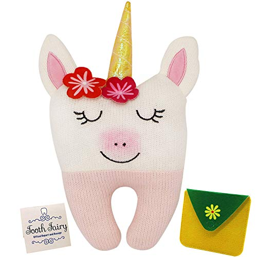Tooth Fairy Pillow for Girls - Unicorn Themed Keepsake Pillow Set with Notecard and Keepsake Pouches for Girls Boys and Unicorn Lovers of All Ages