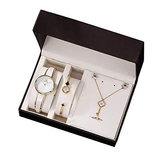IMFFSE Embalaje Embalaje Juego de Relojes de Mujer, Reloj de Pulsera de Banda de Acero Inoxidable analógico, Reloj de Estilo clásico para Mujeres,Blanco