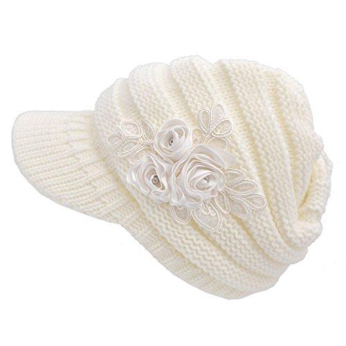 Crochet Invierno Beanie Gorro de Punto Caliente Cozy Mujeres Grande So