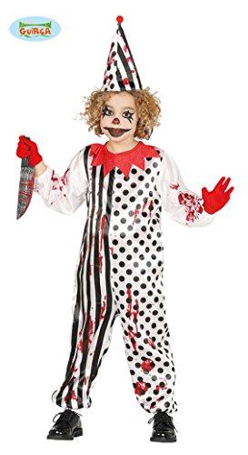 Horror Zombie Clown Kostüm für Kinder Gr. 110 - 146, Größe:140/146