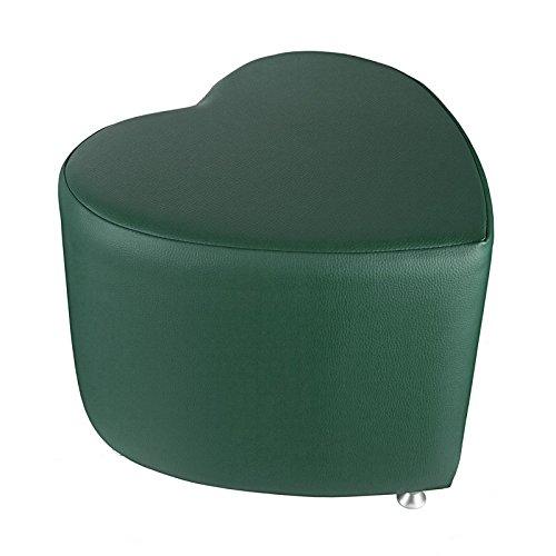 Sgabello a forma di cuore, verde scuro, con piedini in alluminio
