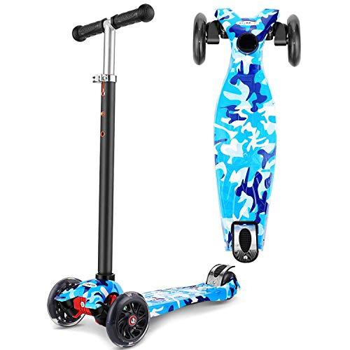 OUTCAMER Scooter para Niños Patinete con luz para Niñas Niños Patinetes Ajustables en Altura para Niños de 3 a 12 años