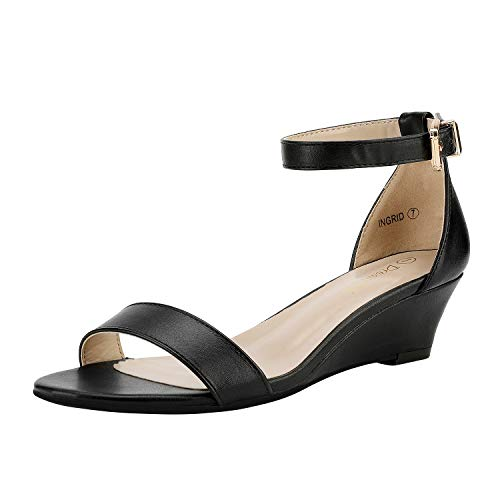 DREAM PAIRS Women's Ingrid Black Pu Ankle Strap Low Wedge Sandals Size 5.5 M US