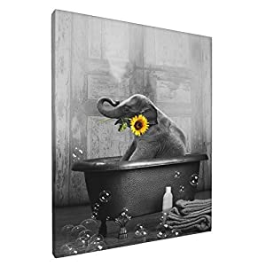 Elephant Sunflower Canvas Wall Art Funny Animal Sunflower And Elephant Bathing In The Bathtub Wall Decor Black And White Pictures Giclee Print Modern Artwork For Living Room Bedroom Bathroom,8x10in
