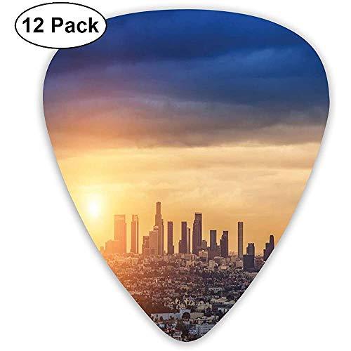 Púas de guitarra Paquete de 12, Amanecer en Los Ángeles Arquitectura urbana Paisaje tranquilo Cielo majestuoso