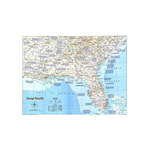 QJIAHQ Mapa del Mundo del Sur de los Estados Unidos, Arte de Pared, Mapa del Mundo, Pintura en Lienzo, Carteles e impresión, 60 * 90 cm sin Marco