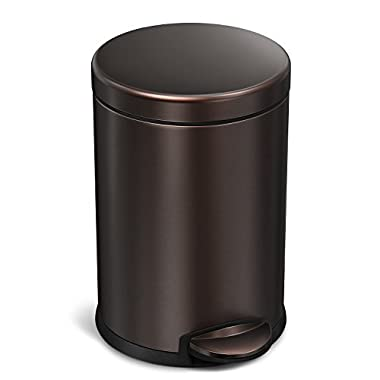 simplehuman 4.5 Liter/1.2 Gallon Compact Stainless Steel Round Bathroom Step Trash Can, Dark Bronze Stainless Steel