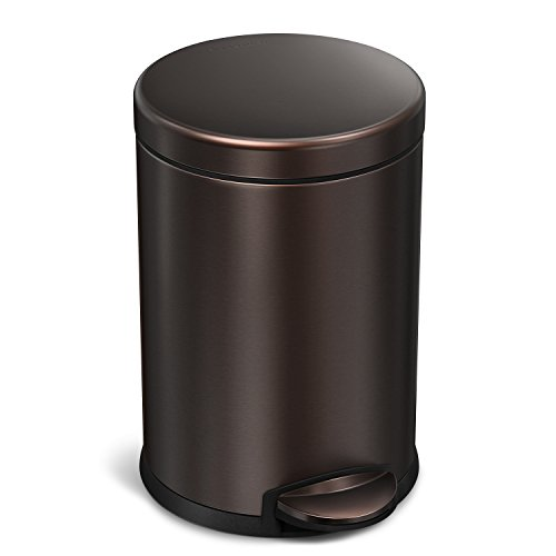 simplehuman, Dark Bronze 4.5 Liter / 1.2 Gallon Round Bathroom Step Trash Can, Stainless Steel