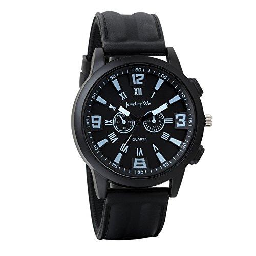 JewelryWe Herren Armbanduhr, Wasserdicht Analog Quarz, Fashion Sport Uhr mit Kautschuk Armband, Schwarz