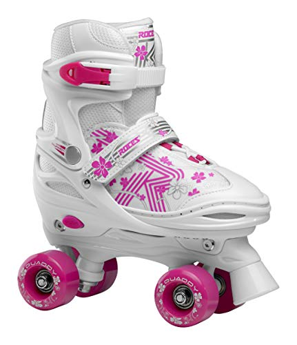 Roces Mädchen Quaddy 3.0 Girl Größenverstellbarer Kinder-Rollschuh, White-pink, 38/41