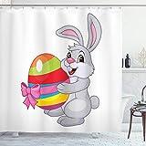 ABAKUHAUS Ostern Duschvorhang, Nette Karikatur-Kaninchen, Klare Farben aus Stoff inkl.12 Haken Farbfest Schimmel & Wasser Resistent, 175 x 200 cm, Multicolor
