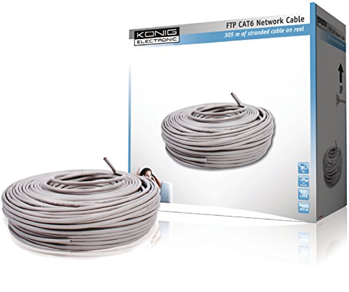 König FTP Cat6 cavo di rete 305 m Grigio