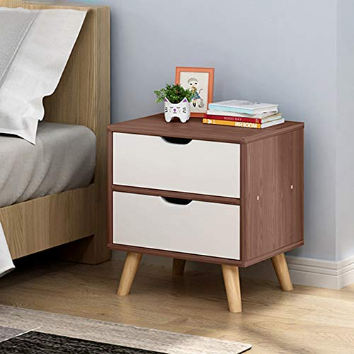 Awssya Modern Bedroom Bedside, Bedside Cabinet Storage Cabinet, Locker with Double Drawer Nightstand, Wood Legs End Table Nightstand for Home Bedroom Accessories/Office/Dorm, Easy to assemble