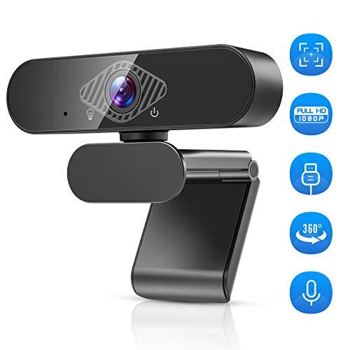 Teaisiy Webcam,Webcam Mit Mikrofon Webcam HD 1080p USB Webcam für Videoanrufe, Studieren, Konferenzen, Aufzeichnen, Spielen mit drehbarem Clip etc,PC/Mac/ChromeOS/Android (schwarz)
