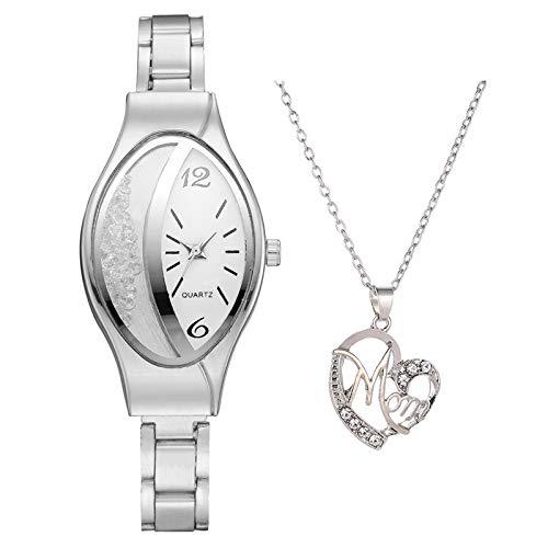 Janly Clearance Sale Conjuntos de joyería para mujer, reloj de cuarzo casual con collar para mujer, combinación de regalo, regalo de cumpleaños, regalo para damas y niñas (plata)