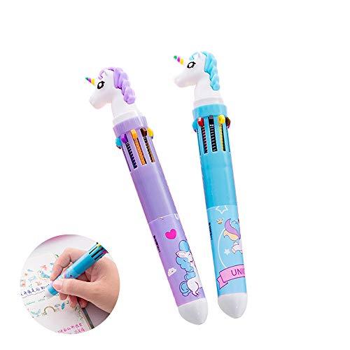 Clest F&H - Juego de 2 bolígrafos de dibujos animados con diseño de unicornio para estudiantes, colores de graffiti