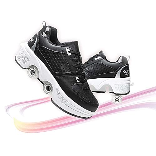Elitte Scarpe Roller Pattini A Rotelle Wheel Sneaker per Bambini Retrattile Doppie Ruote Scarpe da Skateboard da Skateboard Scarpe da Skate Roller da Allenamento per Principianti Unisex