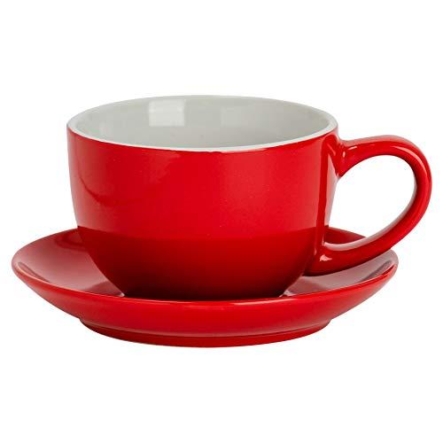 Argon Tableware Farbige Cappuccino Tasse und Untertasse - Modern Style Porzellan-Tee-und Kaffeetasse - Rot - 250ml