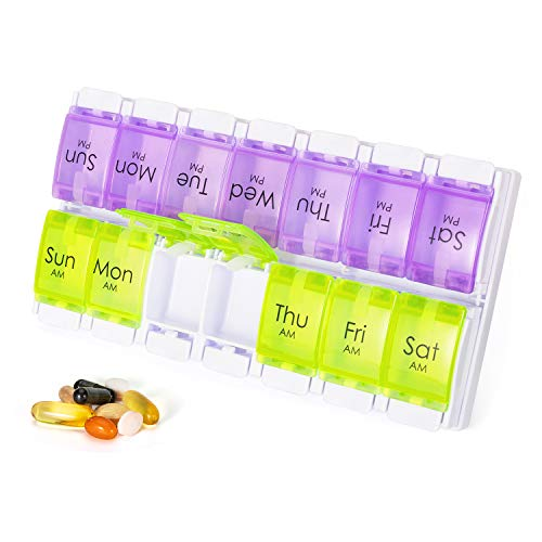 Weekly Medicine Box Organizer 2 Times a Day Dispenser with Large Container to Store Vitamin/Supplements Portable for Travel 2 Rows 7 Day Am Pm Pill Case with Tray Holder