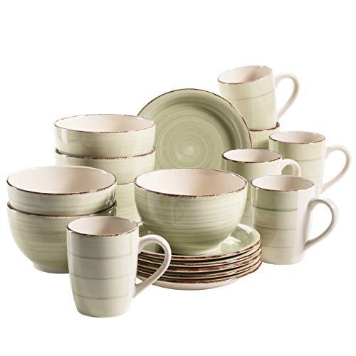 MÄSER 931490 LUMACA Frühstück-Service für 6 Personen im Vintage Look, handbemalte Keramik, 18-teiliges Geschirr-Set, Grün, Steingut