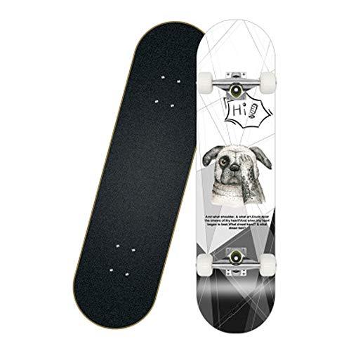 Skateboard 80 x 20 cm Komplettboard Ahornholz Cruiser Holzboard ABEC-7 Kugellager Longboard Farben zur Wahl,Dog