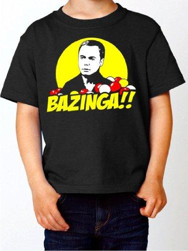 Kinder T-Shirt BAZINGA Sheldon Cooper THE BIG BANG THEORY Kult Serien Shirt schwarz E167-kids Gr. 152