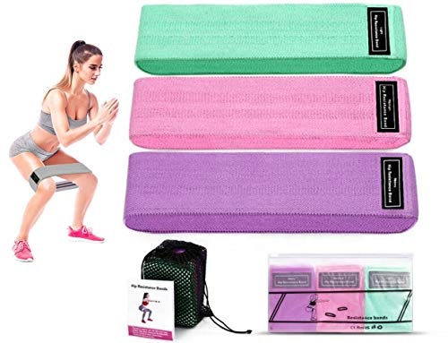 Resistance Bands for Legs and Butt,Exercise Bands Set Booty Bands Hip Bands Wide Workout Bands Sports Fitness Bands Resistance Loops Band Anti Slip Elastic (Set 3) by QDWLY