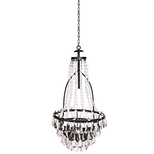 Garden Meadow 33-Inch Tall Hanging Metal and Acrylic Solar Chandelier