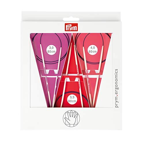 Prym 215000 Rundstricknadel Set prym.ergonomics, 3,0-4,0mm, Kunststoff, multicolor, alabasterweiß, 3-4 mm / 80 cm