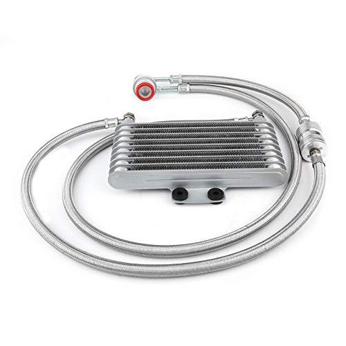 KIMISS Moteur Refroidisseur D'huile Radiateur de Refroidissement d'huile Kit Système pour Moteur 100CC-125CC(125ML Grande taille-Argent)