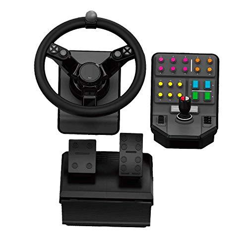 Logitech G Saitek Farm Sim Controller, Farming Simulator Bundle bestehend aus Lenkrad, Steuerkonsole, Gas- und Bremspedal, 900° Lenkbereich, 38+ Tasten, USB-Anschluss, PC/Mac, Schwarz
