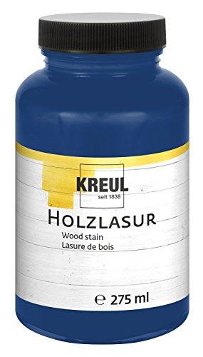 Kreul 78210 - Farbintensive Acryl Holzlasur, für unbehandeltes, natürliches Holz und saugende Naturpapiere, fließend - flüssige Farbe auf Wasserbasis, 275 ml Kunststoffglas, ultramarin