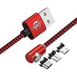 L Cable Cargador Tipo C USB C magnético Forma de L 90 Grados de ángulo Recto 3.3 pies/6.6 pies/10 pies Imán de Cable para el iPhone XR X,8,7,6 Plus,Samsung S6,S7,S8,S9,HTC LG,Todos los Dispositivos