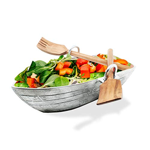 Rowboat Serving Bowl with a Pair of Wood Serving Utensils by Gute, Boat Salad Bowl approx. 16' L x...
