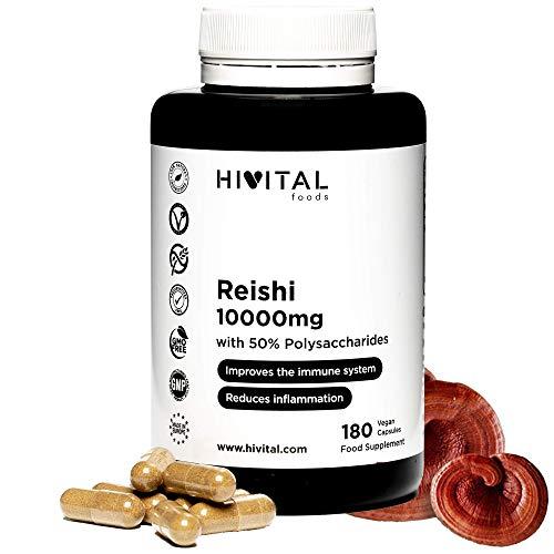 Reishi 10000 mg. 180 capsule vegane per 6 mesi. Con il 50% di Polisaccaridi, 10% di Beta-glucani e 2% di Triterpeni. Antiossidante naturale che rafforza il sistema immunitario e riduce l'infiammazione