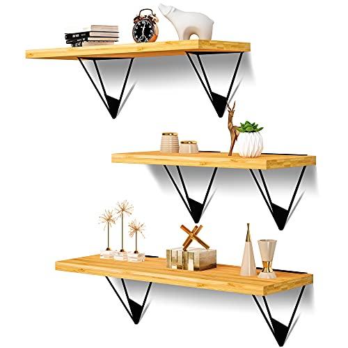 BAMBSTICK Floating Shelves Wall Mounted Set of 3, Modern Bamboo Wall Shelves for Bedroom, Living Room, Bathroom, Kitchen, Office, Storage Home Decor Floating Shelf, Book Shelves