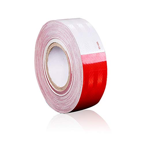 Dot-C2 Red/White Reflective Safety Conspicuity Tape Waterproof High Intensity Reflective,Caution Sign,Driveway reflectors Tape for Vehicles,Trailers,Boats,Signs,Outdoor, Cars, Trucks(2 in x 100 Ft)