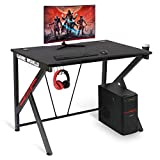 Gaming Desk 42' Gaming Table E-Sports Home Computer Desk with Cup Holder and Headphone Hook Gamer Workstation Game Table (42.12'x 26.57' x 30.31')