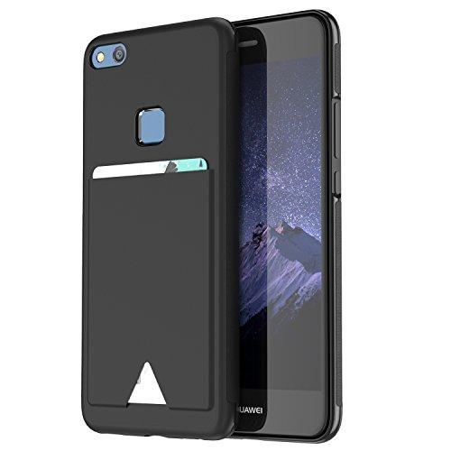 Huawei P10 lite ケース 薄型 ICカード収納 TPU+レザー 耐衝撃 滑り防止 指紋防止 スマホケース 携帯カバー (Huawei P10 lite, 黒)