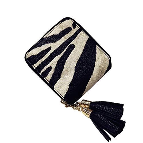DAIFUQIANG Women'S Korte Portemonnee Vrouwelijke Rits Koppelingstas Zebra Tassel Bag Dames Munttas