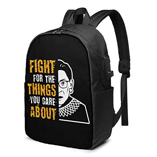 IUBBKI Bolsa para computadora mochila USB Fight For The Thi-Ngs You Care About 17 Inch Laptop Backpack For Men & Women,Travel/School Backpack With Usb Charging Port & Headphone Interface